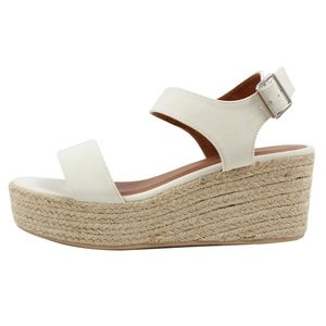 Off White Open Toe Ankle Strap Espadrille Wedge